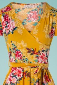 Vintage Chic 28775 Mustard Floral Dress 20190305 010V