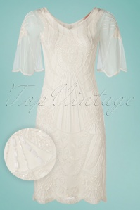 GatsbyLady 20s Kate Flapper Dress in Ivory