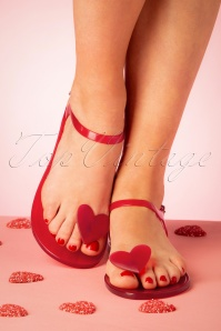 60s The Geli Heart Sandals in Red