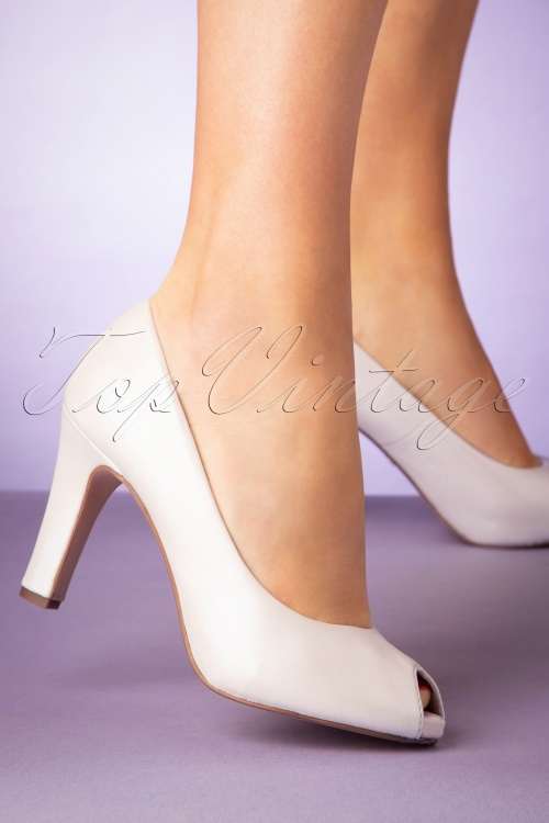 best sell release info on sneakers 50s Leslie Leather Peeptoe Pumps in Pearl White