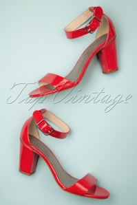 60s Fire Patent Sandals in Red