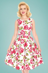 50s Sweet Rose Swing Dress in White