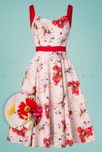 Deborah Floral Swing Dress Années 50 en Rose