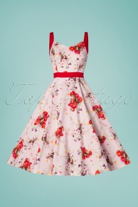 Hearts and Roses 29024 Pink and Red Floral Swing Dress 20190305 003W