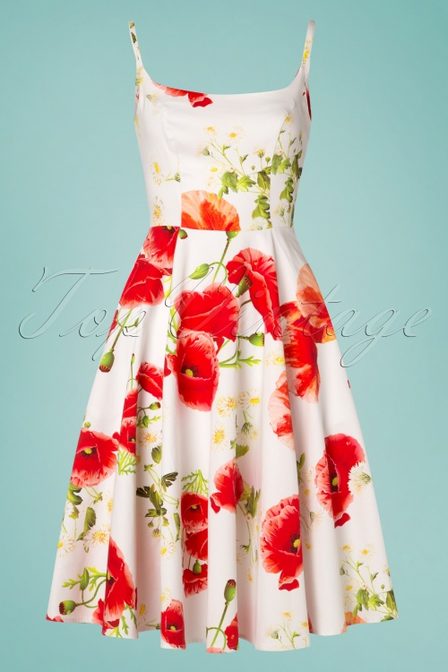 Hearts and Roses 29018 White Poppy Floral Swing Dress 20190305 006W