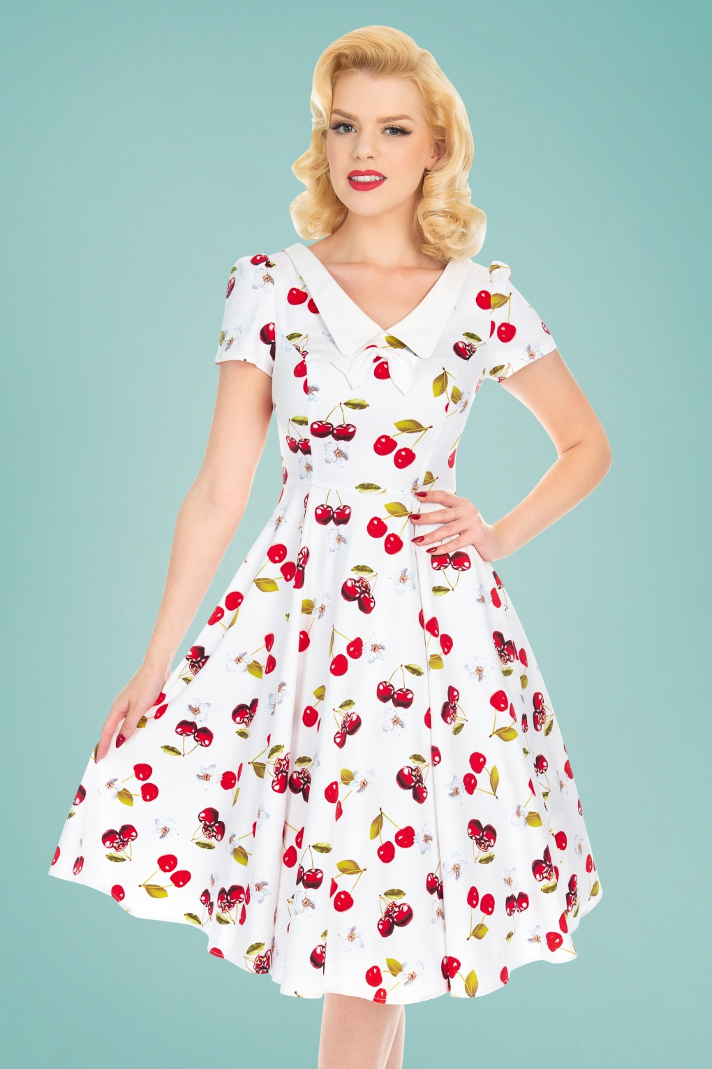 50 Vintage Inspired Clothing Stores 50s Cherry On Top Swing Dress in White £47.20 AT vintagedancer.com