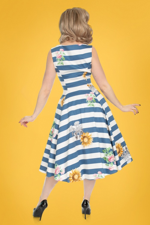 327696a5587 50s Audrey Striped Sunflower Swing Dress in Blue and White