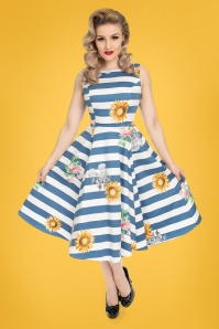 50s Audrey Striped Sunflower Swing Dress in Blue and White