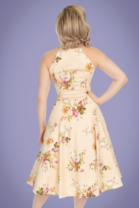 Hearts and Roses 29014 Cream Floral Swing Dress 2