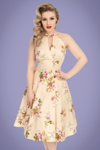 50s Lucinda Floral Swing Dress in Cream
