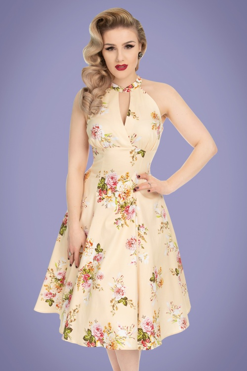 Hearts and Roses 29014 Cream Floral Swing Dress 1