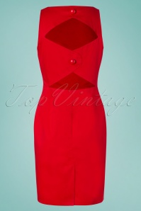 Collectif Clothing 27461 Felicia Plain Pencil Dress in Red 20180815 003W