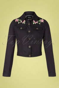 50s Becca Rose Denim Jacket in Black