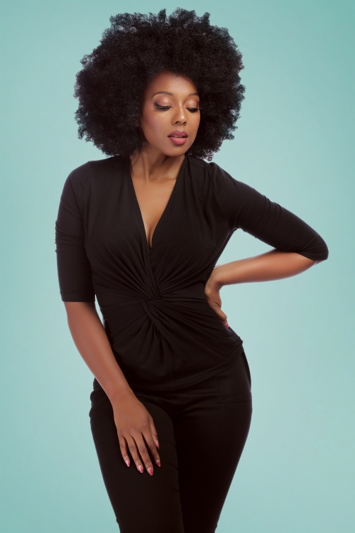 Collectif Clothing 27456 Vivian Twist Top in Black 20180813 1