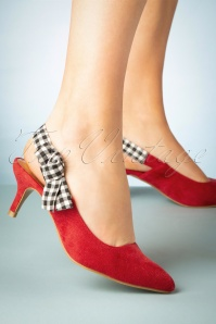 50s Gingham Slingback Pumps in Red