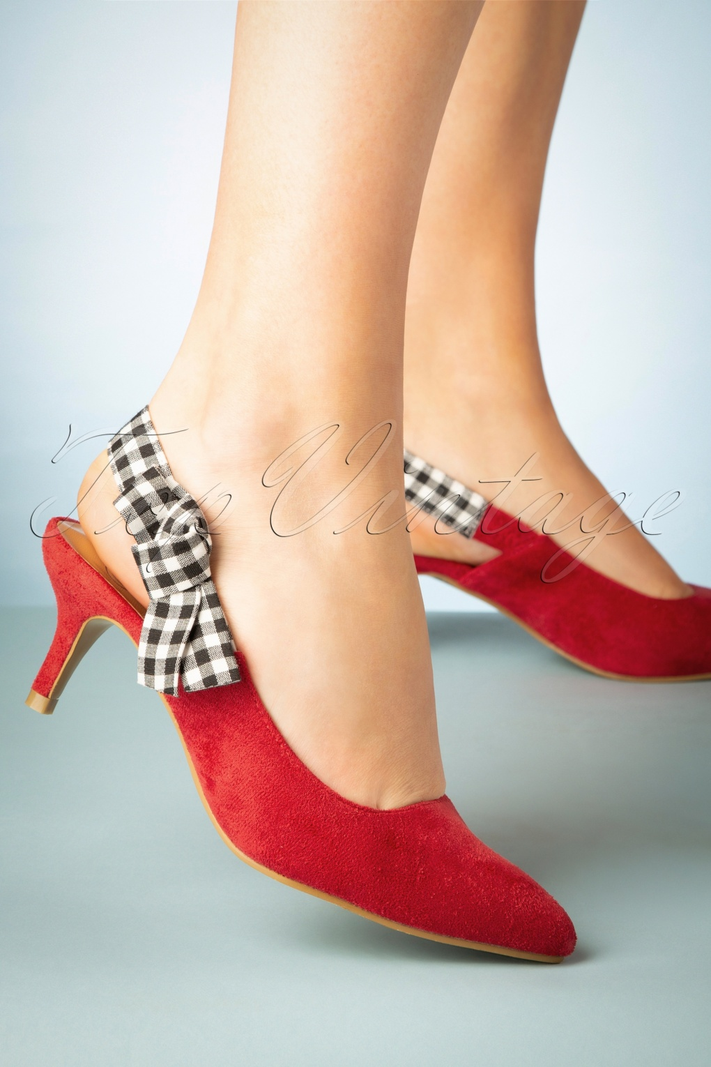 1960s Style Dresses, Clothing, Shoes UK 50s Gingham Slingback Pumps in Red £34.32 AT vintagedancer.com