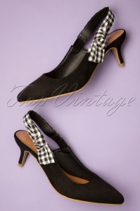 50s Gingham Slingback Pumps in Black