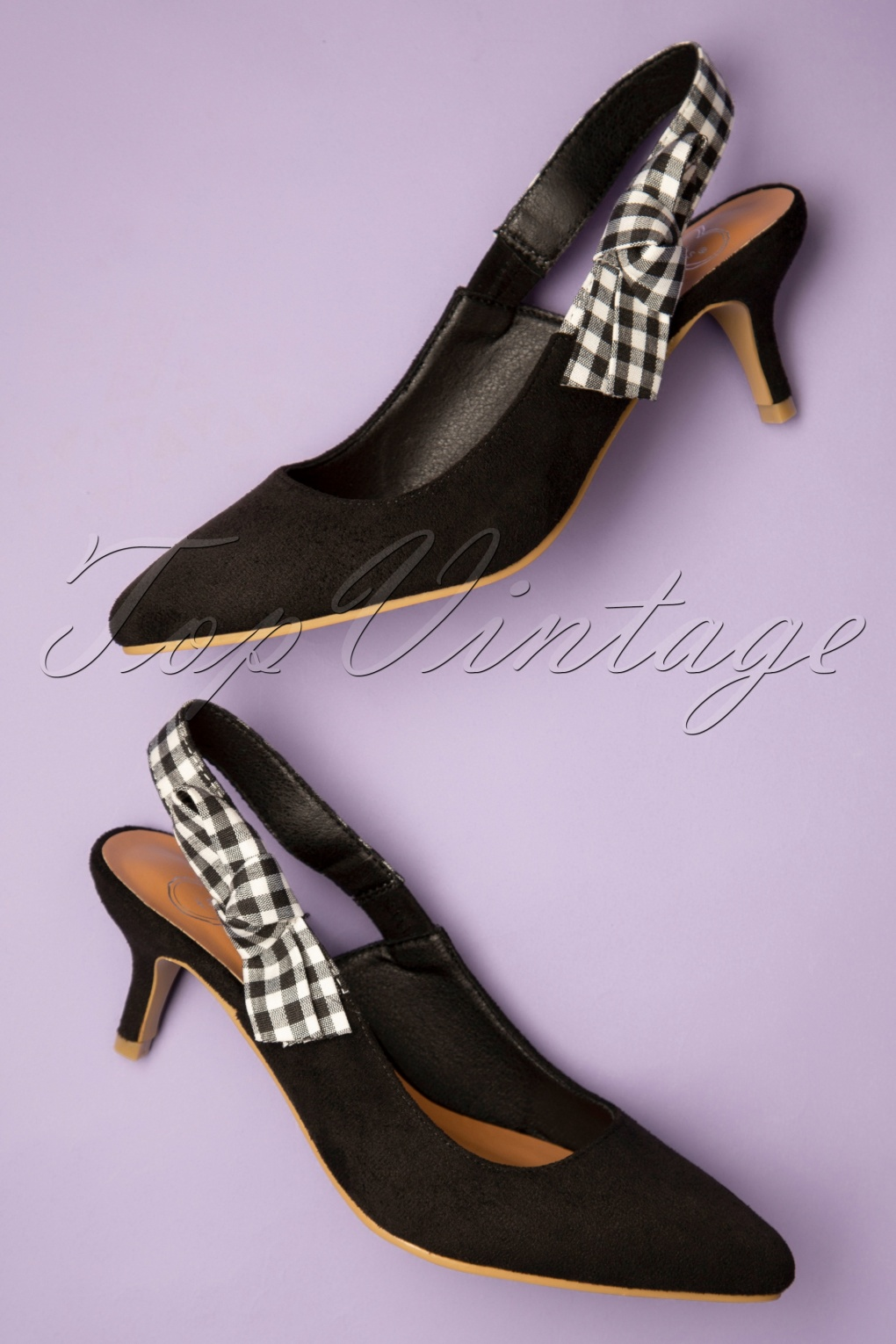 1960s Style Dresses, Clothing, Shoes UK 50s Gingham Slingback Pumps in Black £34.32 AT vintagedancer.com