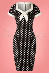 Banned 28458 Polka Love Wiggle Dress in Black 20181220 001W