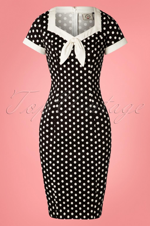 50s Dresses UK | 1950s Dresses, Shoes & Clothing Shops 50s Polka Love Wiggle Dress in Black £36.04 AT vintagedancer.com