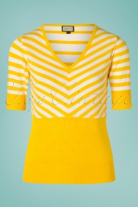 70s Isla Stripes Lover Top in Yellow and White
