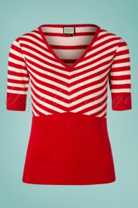 70s Isla Stripes Lover Top in Red and White