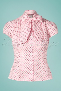 Heart of Haute 50s Estelle Candy Heart Blouse in Pink and White
