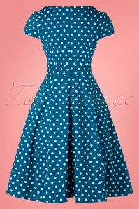 Dolly and Dotty 29142 Short Sleeve Blue Polkadot Dress 20190307 006W