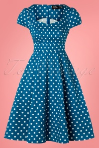 Dolly and Dotty 50s Claudia Polkadot Swing Dress in Peacock Blue