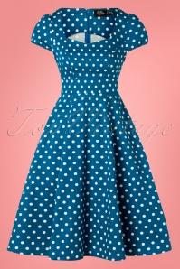 Dolly and Dotty 29142 Short Sleeve Blue Polkadot Dress 20190307 003W