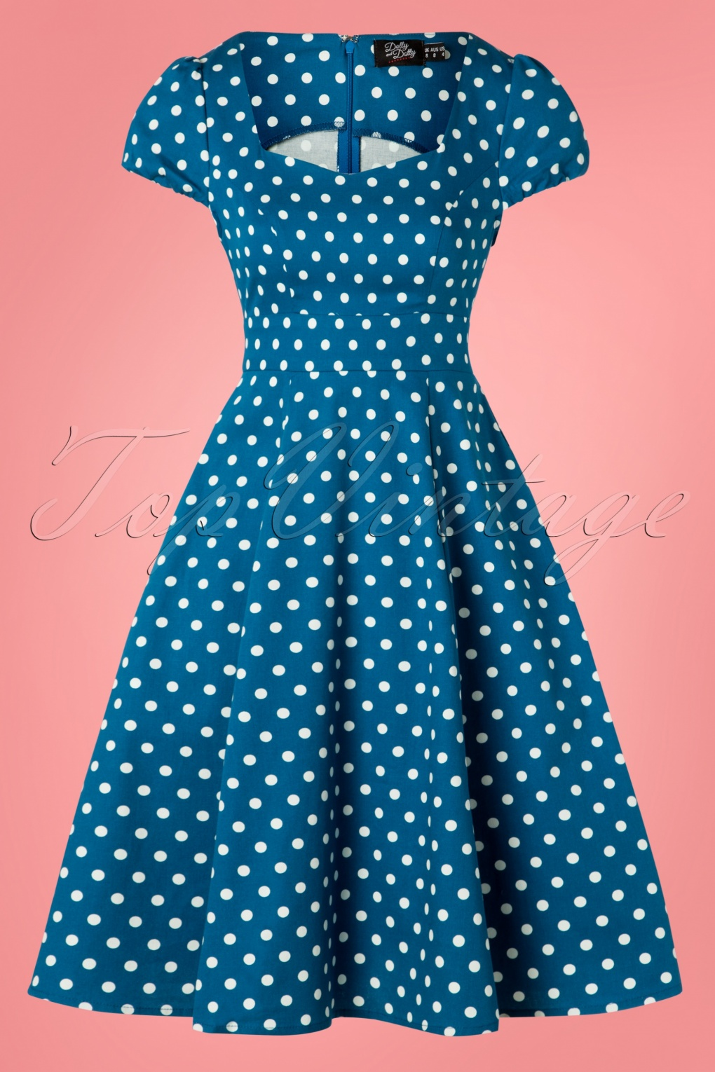 e8b6678f862 50 Vintage Inspired Clothing Stores 50s Claudia Polkadot Swing Dress in  Peacock Blue  38.61 AT