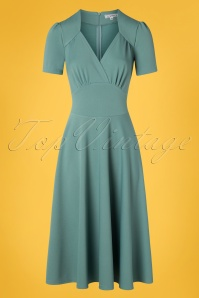 Very Cherry 40s Vivienne Hollywood Circle Dress in Soft Blue