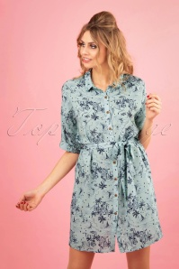 Santorini Dreams Shirt Dress Années 50 en Bleu/Gris