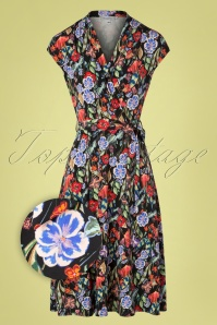 50s Toscane Flowers Cross Over Dress in Black
