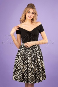 50s Sketchy Swing Skirt in Black and Cream