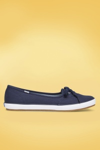 Keds 50s Teacup Twill Ballerina Sneakers in Navy