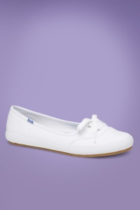 Keds 50s Teacup Twill Ballerina Sneakers in White