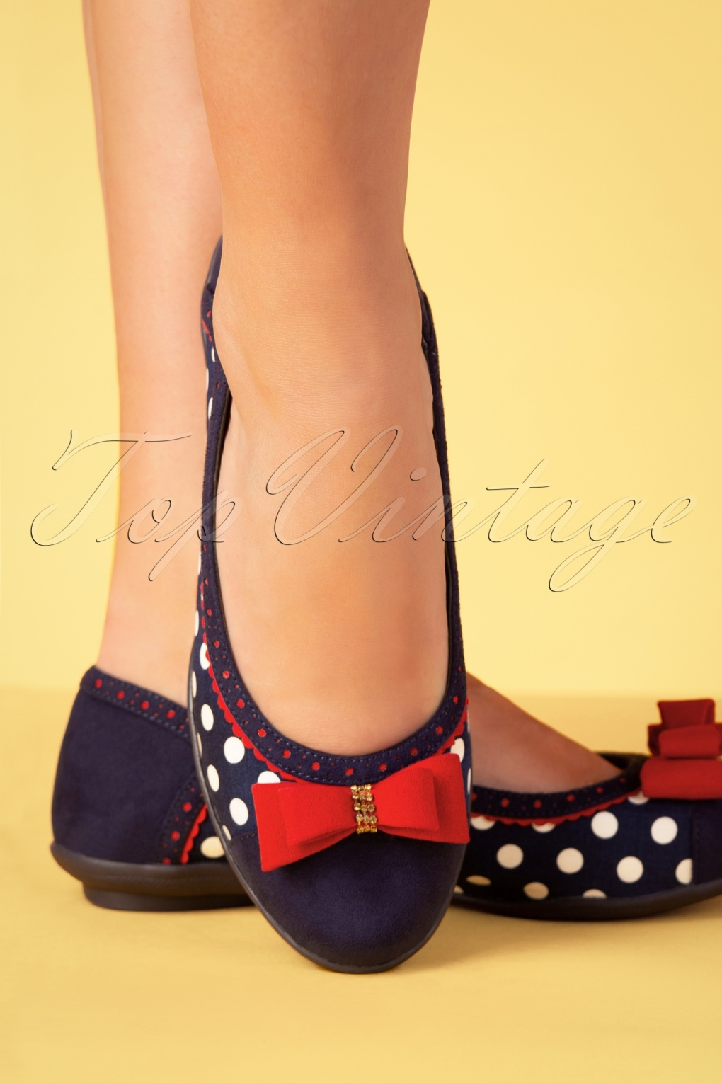 60s Shoes, Boots | 70s Shoes, Platforms, Boots 60s Lizzie Polkadot Flats in Navy �55.51 AT vintagedancer.com