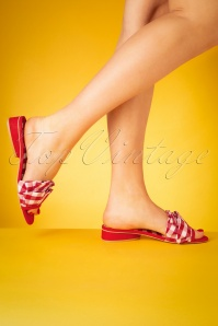 50s Alena Check Sandals in Red