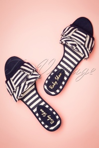 50s Alena Striped Sandals in Navy