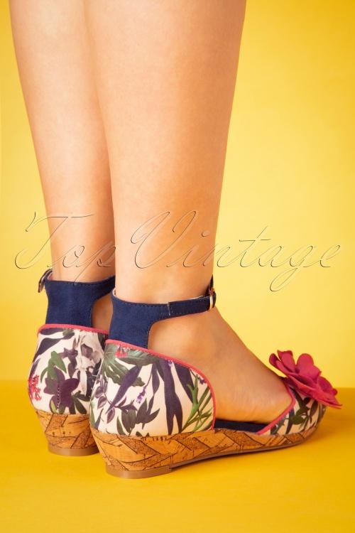 Ruby Shoo Phyllis Sage Pink Blue Open Toe Low Wedge Ladies Flower Heel Sandal