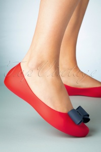 50s Calathea Bow Flats in Red