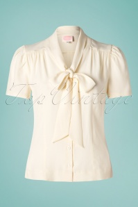 40s Sassy Secretary Blouse in Ivory