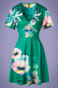 60s Diana Floral Dress in Green