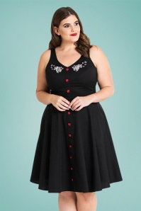 50s Thumper Mid Dress in Black
