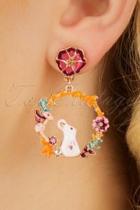 Trixie Floral Hoop Earrings Années 60 en Jaune