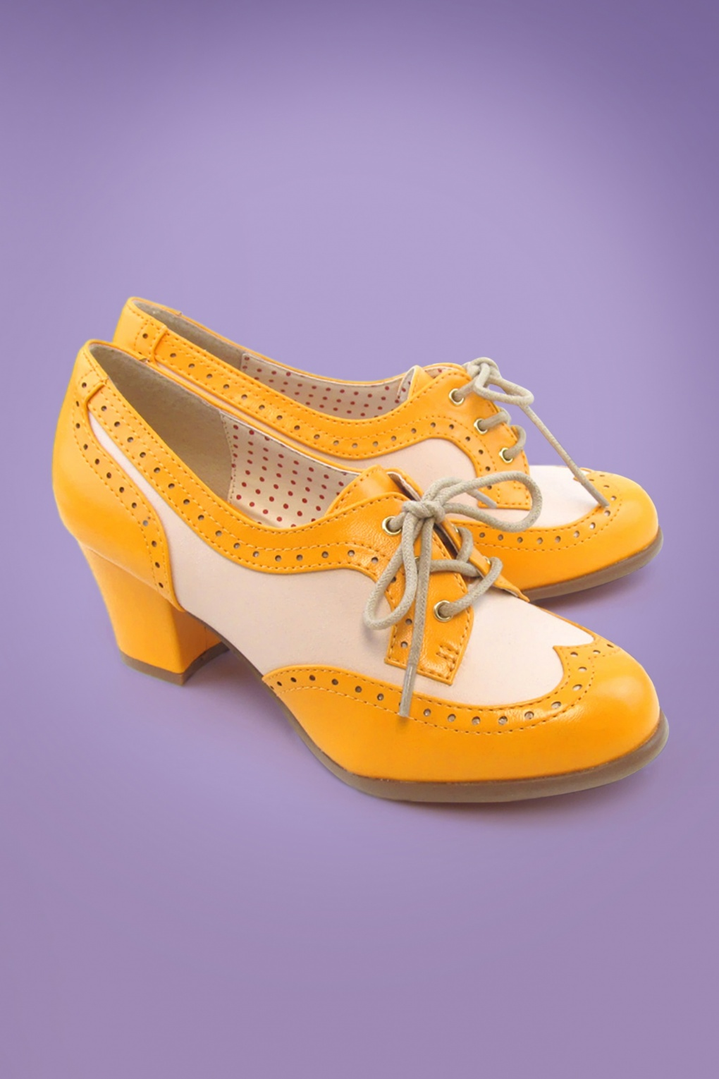 1930s Style Shoes – Art Deco Shoes 40s Remmy Oxford Shoes in Mustard �68.49 AT vintagedancer.com