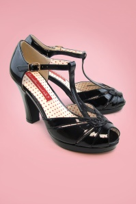 B.A.I.T. 30s Lacey Art Deco T-Strap Pumps in Patent Black