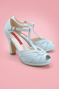30s Lacey Art Deco T-Strap Pumps in Pale Blue