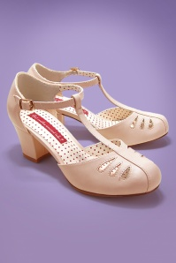 40s Robbie T-Strap Pumps in Blush Cream